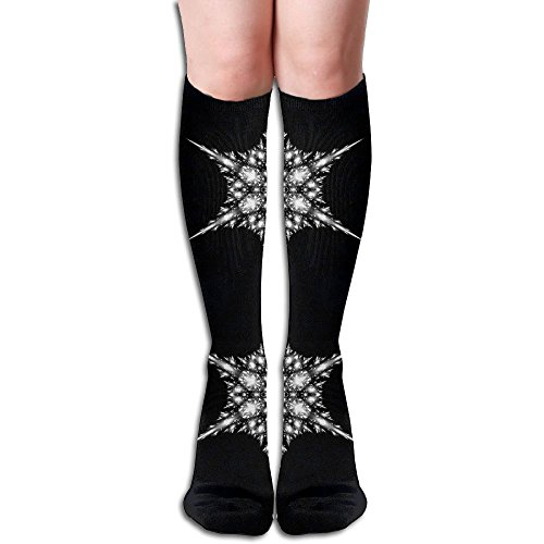 Unisex Fractal Snowflake Large Design Elastic Long Socks Compression Knee High Socks ( 50cm )For Sports, Running, Travel ()