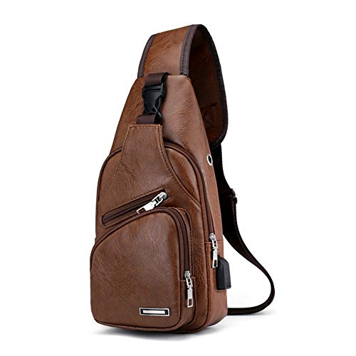 Men Sling Bag,Waterproof Stylish Casual PU Leather Crossbody Bag with USB Charging Port Chest Shoulder Backpack, Fits…