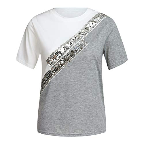 (TANLANG ♥2019 Women's Sequined Shirt Summer Casual Hit Color Round Neck Short-Sleeved Casual Shirt Stitching Shirt T-Shirt White)
