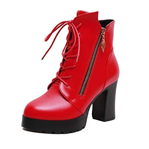 Punta Otoño Yan Cuero Cerrada Con Rojo botines Botas De Botines Negro Moda Gruesos Tacones q6ZTpz6wr