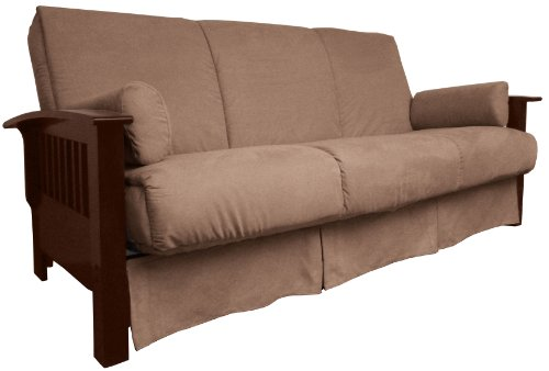 Brentwood Mission-Style Perfect Sit & Sleep Pocketed Coil Inner Spring Pillow Top Sofa Sleeper Bed, Queen-size, Walnut Arm Finish, Leather Look Brown Upholstery