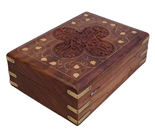 ThanksGiving and Christmas Gift The Indian Arts Wooden Handmade Jewlery Box Flower Shape