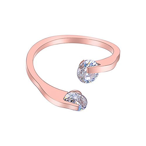 Tornado Double Diamonds Crystal Women Open Ring Stainless Steel Rhinestone Adjustable Lady Ring Jewelry,Rose (Rings Ladies Rose Gold Ring)