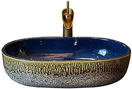 バスルームオーバルレトロ洗面シンクセラミック容器ホテル防滴洗面蛇口セット