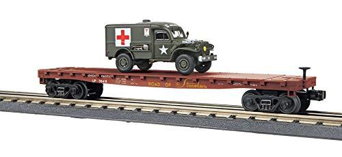 (MTH 30-76742 Union Pacific Flat Car w/(1) Dodge WC54 Ambulance)