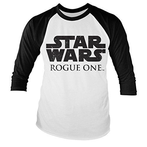 Officially Licensed Merchandise Star Wars Rogue One Logo Baseball Long Sleeve T-Shirt (White/Black)