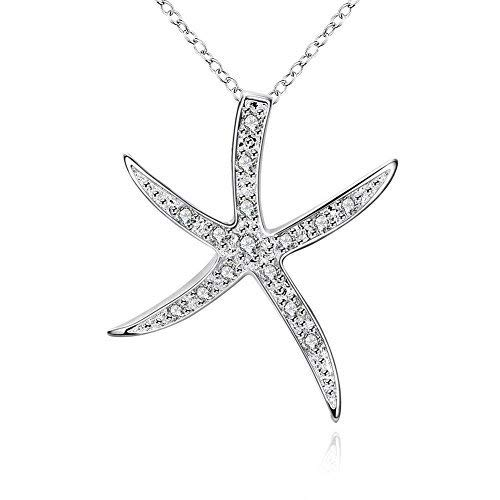 Sterling Silver Starfish Pendant Necklaces for Women Teen Girls, 18