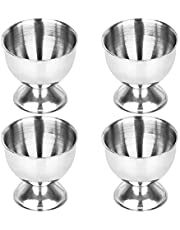 YUPVM Egg Cups Set Steel Eggs Hard Boiled Eggs and Soft Tray Tool Holders Kitchen, Silver