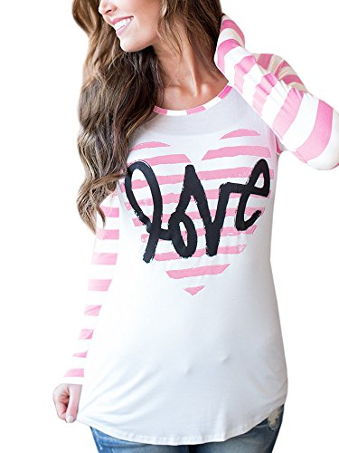 Lovaru Womens Tunic Tops Valentine's Day Heart Print Striped Long Sleeve T Shirt (Striped Heart Tee)