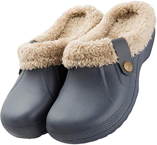 Nzcm Unisex Winter Clogs Warm Gefüttert Hausschuhe für Indoor Outdoor Gr.35-44