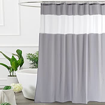 Shower Curtain Grey and White by Ufriday, Modern Fabric Shower Curtain 72 x 72-Inch