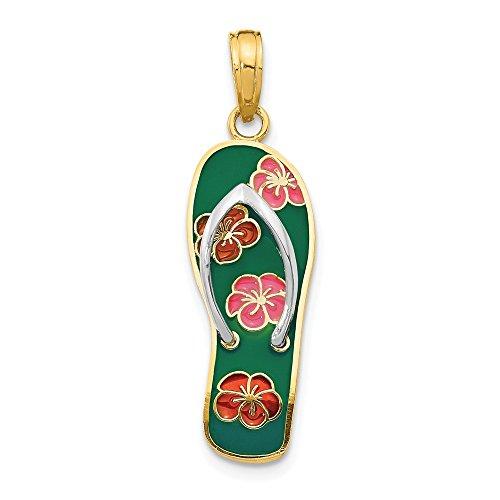 Jewel Tie 14K Yellow Gold Enameled Flowers on Green Flip Flop Pendant - (1.14 in x 0.35 in) - Flip Flower Flop Pendant