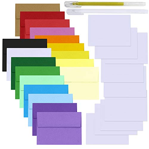 Supla 90 Set 18 Colors A4 Envelopes Invitation Envelopes (4 1/4 x 6 1/4) Square Flap Envelopes with White Blank Message Cards Note Cards DIY Graffiti Cards for Wedding Birthday Card Making Supplies