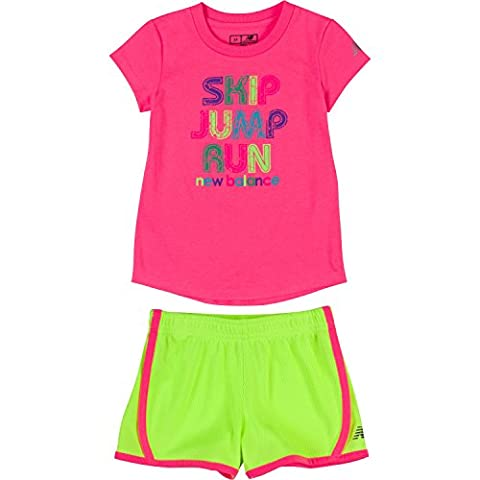 New Balance Toddler Girls' Athletic Tee and Short Sets, Pink/Lime Glo, 2T (Themed Sweaters)