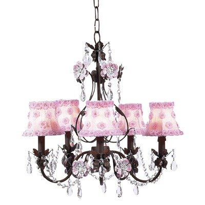 Jubilee Collection 7486-2057 5 Arm Mocha/Pink Flower Garden Chandelier with Pink Petal Flower Shade