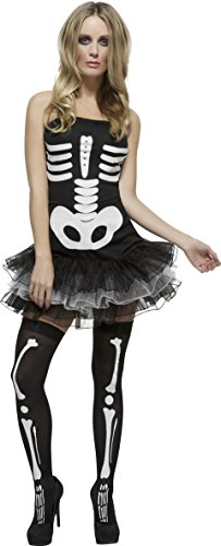 80's Business Woman Costume (Smiffy's Women's Fever Skeleton Costume, Tutu Dress with Detachable Clear Straps, Halloween, Fever, Size 6-8, 31969)