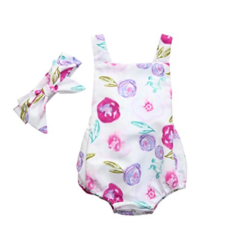 Playsuit One (Infant Toddler Baby Girls Romper Outfits Clothes Cuekondy Cute Floral Backless Jumpsuit Playsuit Headband Set for 1-3 Years Old (Purple, 24M))
