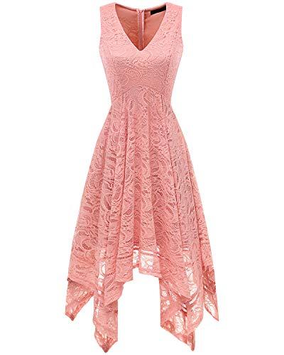 Bridesmay Women's Elegant V-Neck Sleeveless Asymmetrical Handkerchief Hem Floral Lace Cocktail Party Dress Blush -