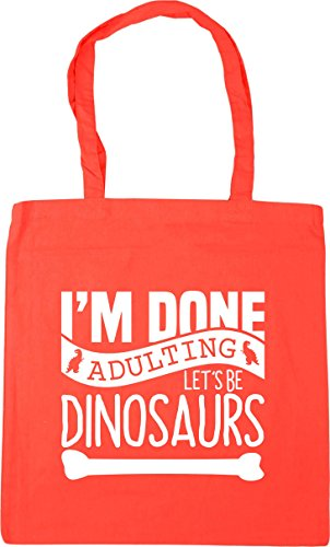 Tote Adulting Done Gym 10 Dinosaurs HippoWarehouse x38cm 42cm I'm Let's Coral Shopping Be litres Bag Beach 8YTqEqw