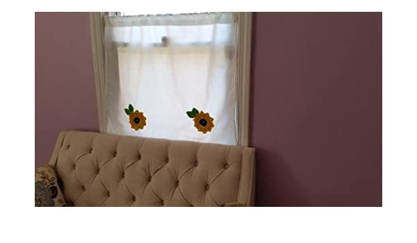 Amazon.com: Crochet Sunflower Cafe curtains, Kitchen Curtains ...