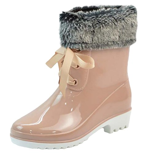 LvRao Women's High-Ankle Short Snow Rain Shoes Waterproof Rainboots High Heel Boots Rubber Booties Beige with Fur WfJ65n0z