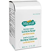 GOJO MICRELL Antibacterial Lotion Soap Refill, Unscented Liquid, 800-ml, 12/ctn