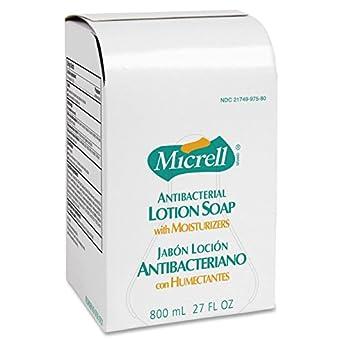 GOJO micrell antibacterial Loción Jabón Refill, sin perfume líquido, 800-ml, 12