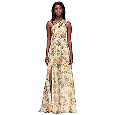 David's Bridal Long One Shoulder Printed Chiffon Bridesmaid Dress Style F18055P