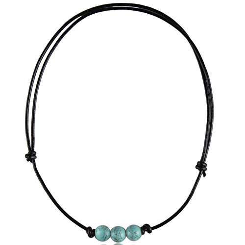 Barch Young Three Turquoise Choker Necklace for Girls on Black Leather String (Three Adjustable 1#)