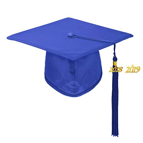 - Annhiengrad Unisex Adult Shiny Graduation Cap with Tassel 2018&2019, Royal Blue, Adjustable
