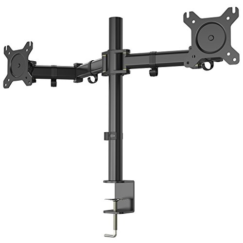 Dual Arm Monitor Mount, Full Motion Height Adjustable Desk Riser Stand with C-Clamp Installation for Two 13 to 27 inch Computer Screens, up to 17.6lbs Each Arm by HUANUO (Multi Monitor Arm Assembly)