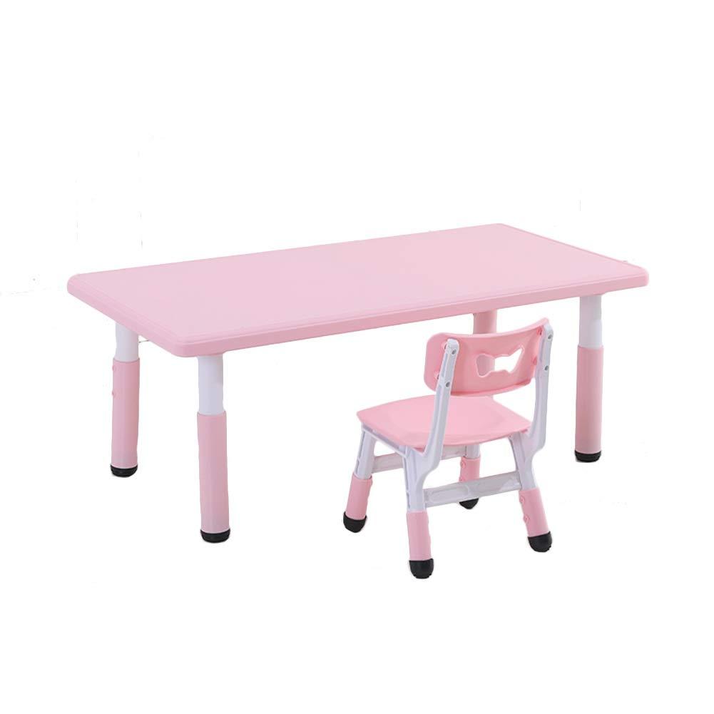 rose-c  ZHAOHUI-Ensembles Table et Chaise pour Enfants Jardin d'enfants Hauteur Réglable Durable Facile à Nettoyer Ensemble Table Et Chaises Jeu Lis 2-10 Ans, 4 Couleurs (Couleur   vert-A)