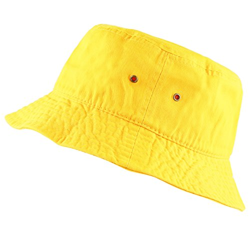 THE HAT DEPOT 300N Unisex 100% Cotton Packable Summer Travel Bucket Hat (L/XL, Yellow)