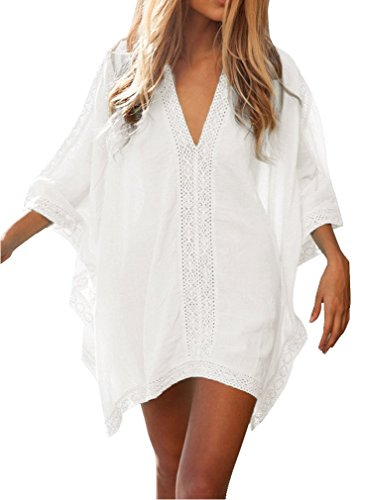 Bywen Womens Loose Fit Lace Swimwear Cover-Ups White
