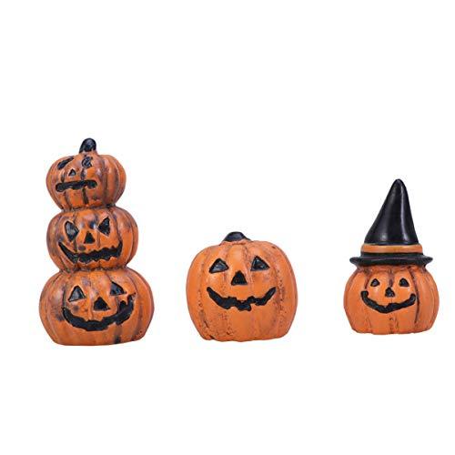 Yardwe 3pcs Halloween Fairy Garden Miniature Pumpkin Figurine Decorations Ornaments Doll House Accessories Halloween Party Favors Bag Fillers