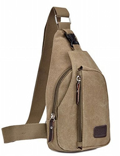 Price comparison product image Lifelj Retro Canvas Chest Shoulder Satchel Sling Messenger Bag Multifunctional Unisex with Soft Zipper Fit for iPod,  iPad, iPhone4 5 5S 6 6s Plus Android Smart Phone (Khaki)