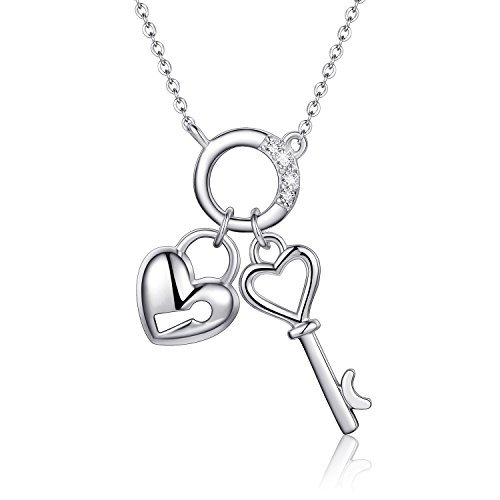 (EURYNOME 925 Sterling Silver Love Heart with Lock Key Pendant Necklace,18 inch Rolo Chain)