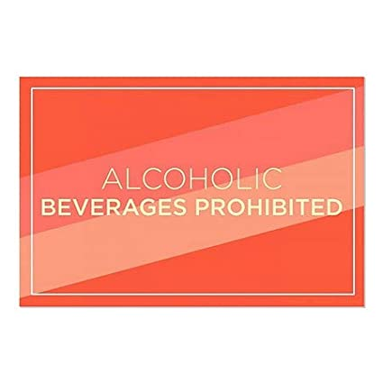 30x20 CGSignLab 5-Pack Alcoholic Beverages Prohibited Modern Diagonal Window Cling