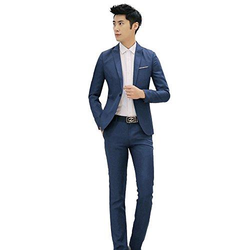 Dressin Men's Suit 2019 Slim Fit One Button 2-Piece Suit Blazer Dress Business Wedding Party Jacket Coat Pants Blue