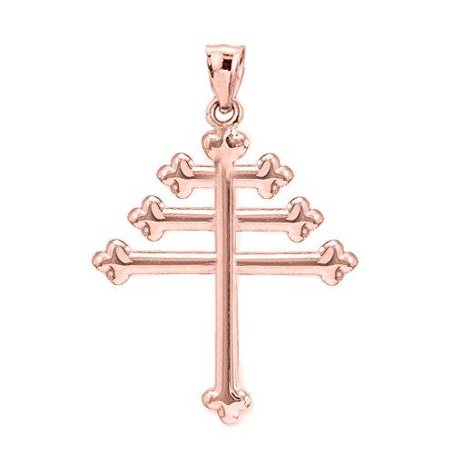 10 ct 471/1000 Or Rose Maroniten Croix Pendentif