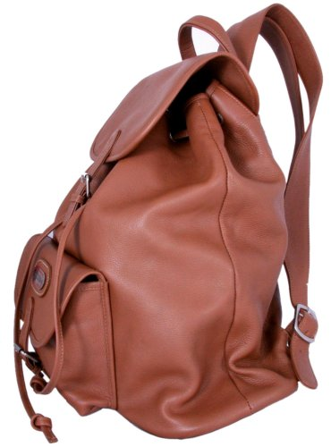Leatherbay Leather Backpack with Single Pocket,Tan,one size by Leatherbay (Image #1)