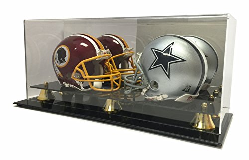 New Double Football Mini Helmet Display Case with Mirror Back and Black Base - Back Display Case