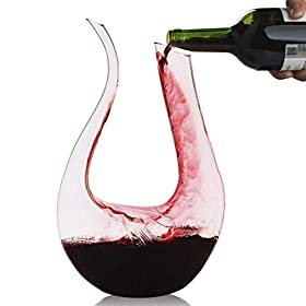 Wine Decanter,Smaier 1.5L U Shape Classic Wine Aerator, Red Wine Carafe, Wine Gifts, Wine Accessories,100% Lead-free Crystal Glass