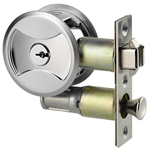 - Keyed Pocket Sliding Door Lock CL4ENTR Matte Silver