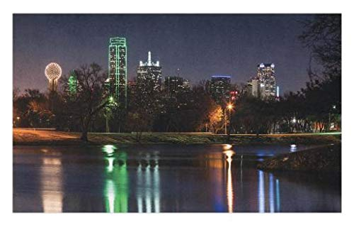 Lunarable USA Doormat, Dallas City Skyline Reflected in a Lake Park with Trees at Night Landscape Scenery, Decorative Polyester Floor Mat with Non-Skid Backing, 30