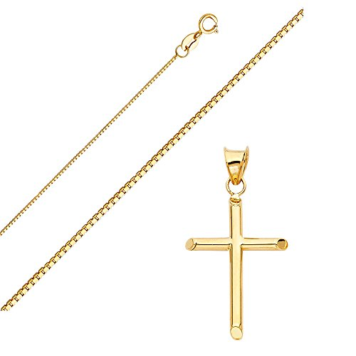 Solid 14K Gold Box Chain Cross Pendant Necklace - Choose Chain Length and Width (16.0, Box Chain - 0.8mm) by Top Gold & Diamond Jewelry