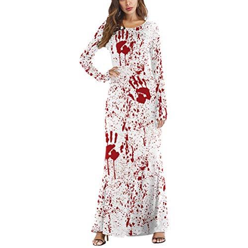 M Señoras Manga Fiesta Mujeres de de Horrific Sangre Vestido Blanco Traje de Larga Halloween Vestido O Fiesta S de Cuello tamaño para FENICAL qU7npw1fxf