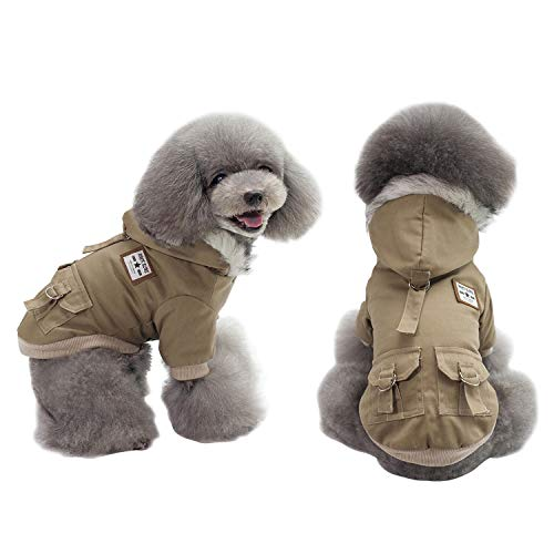 AprilWu Warm Dog Hooded Trench Coat Windproof Parka Jacket for Cold Weater (XXL, Khaki)