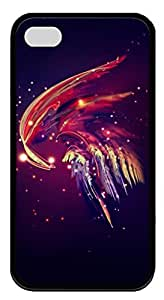 Soft Black TPU Protective Case Cover for iPhone 4 4S,Abstract Plume Feather Case Shell for iPhone 4 4S by lolosakes