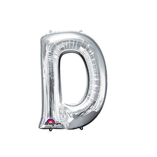 Regina 106436.3, Balão Metalizado Super Shape Letra D Pack, Prata